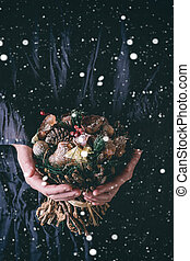 Christmas bouquet with snow
