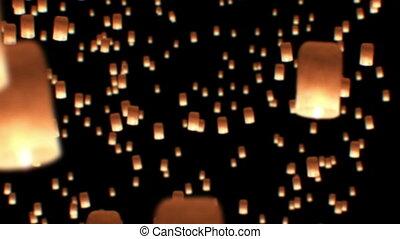 Floating Lanterns in Yee Peng Festival. Loy Krathong...