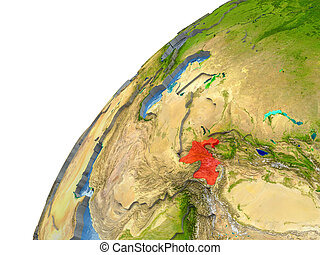 Tajikistan on Earth - Tajikistan highlighted in red with...