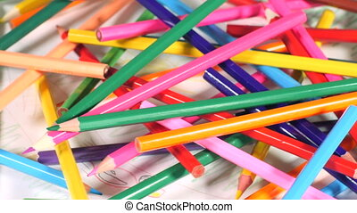 Pile of colorful pencils