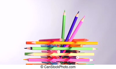 Colorful pencils in holder - Pencil holder built from multi...