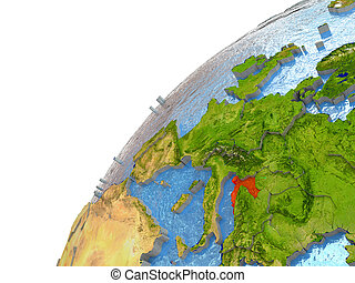 Croatia on Earth - Croatia highlighted in red with...