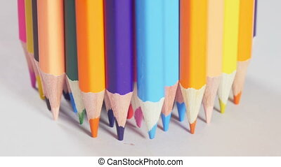 Bunch of pencils standing on table - Bunch of wooden...