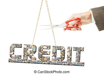 Get rid from heavy weight of credit. Conceptual image