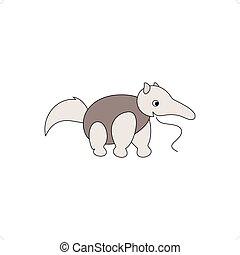 sablon2 - Cartoon style grey antbear isolated on a white...