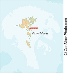Simple map of the autonomous island group of the Faroe Islands