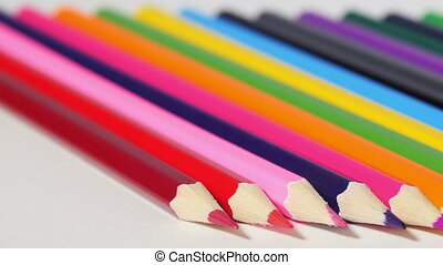 Wooden pencils with sharp ends - Bunch of multicolored...