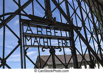 Dachau Nazi Concentration Camp - Germany - Entrance to...