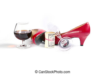 of selling love - bright red women's leather shoes, rolled...