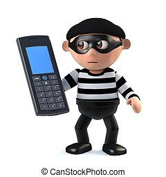3d Burglar has stolen a cellphone - 3d render of a burglar...
