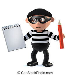 3d Burglar takes notes - 3d render of a burglar holding a...