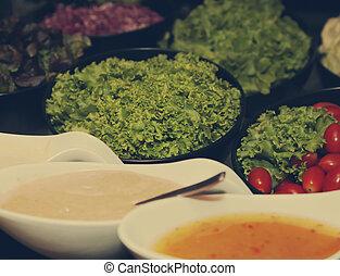 Salad bar buffet in a restaurant