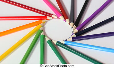 Colorful pencils in circle - Colorful pencils form circle,...