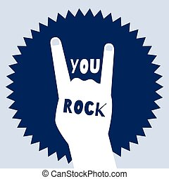 You rock flat design poster template with a devil's horns...