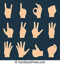 Hands vector flat icons set: finger counting, fist, devil...