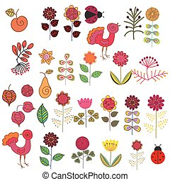 Fruits, flowers and birds set