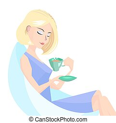 girl with a cup of coffe - blonde girl sitting with a cup of...