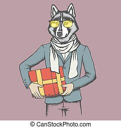Husky in human suit with gift - Vector dog concept. Hand...