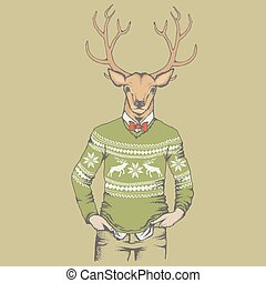 Reindeer in human sweatshirt illustration - Deer vector...