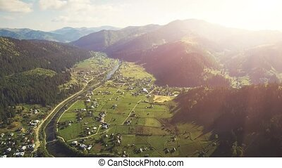 Aerial Drone Flight in Carpathian mountains - Aerial Drone...