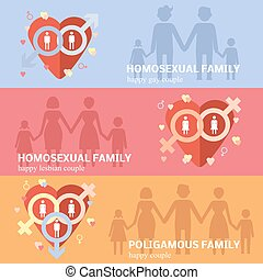Gay family flat - Informative horizontal flat banners set...