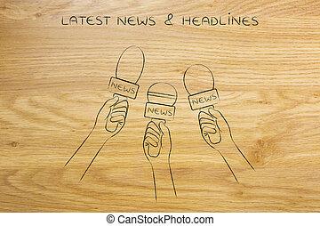 reporters microphones, news coverage & headlines concept