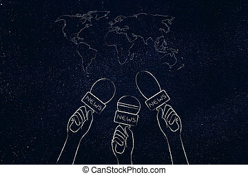 reporters microphones on world map, news coverage &...
