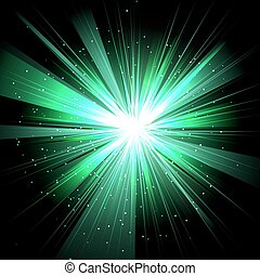 Star with rays white green in space isolated and effect tunnel s