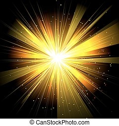 Star with rays white yellow in space isolated and effect tunnel
