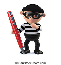 3d Burglar forges a signature with a red pen - 3d render of...