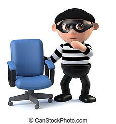 3d Burglar finds an empty office chair - 3d render of a...