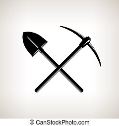 Crossed Shovel and Pickaxe - Silhouette of a Crossed Shovel...