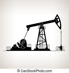 Silhouette Pumpjack or Oil Pump ,also Called Oil Horse,...