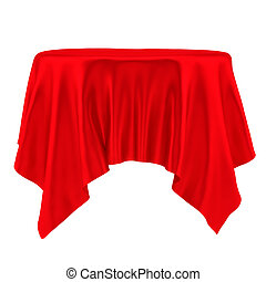 Red tablecloth. Isolated on White Background. 3D...