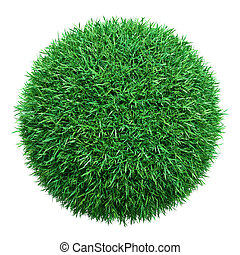 Green grass ball. Isolated on white. 3D illustration