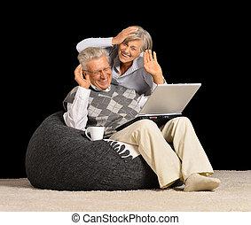 mature couple using laptop - Portrait of a mature couple...