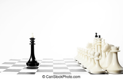 Alone black chess king in front of enemy team. Unequal...