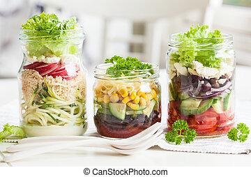 queijo, salada, saudável, pedreiro, vegetal, Jarros