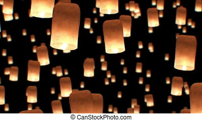 Beautiful Looped 3d animation of Floating Lanterns in Yee Peng Festival. Seamless. HD 1080.