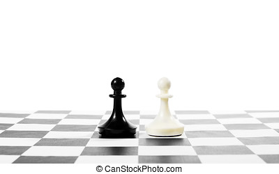 Two pawns one in front of other. Equal rivals. Concept with chess pieces against white background