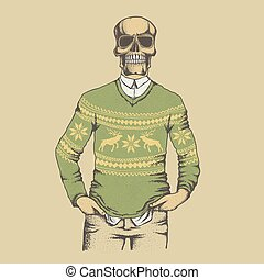 Vector skull illustration - Vector skull in sweater...