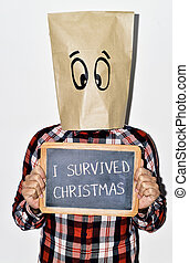 young man who survived christmas - a young caucasian man...