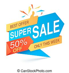 Super Sale Banner - Colorful super sale banner on white...
