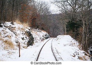 Snow covered railroad tracks, in a rural area of Carroll County, Maryland.