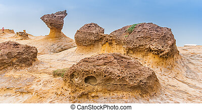 Hoodoo rock formations at the Yehliu cape in Taiwan