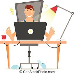 Freelancer working remotely from his desk. Freelance concept in flat and cartoon style
