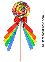 Colorful lollipop with ribbons - Colorful lollipop with...