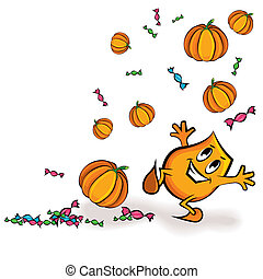 Cartoon character playing with treats and pumpkins - Cartoon...