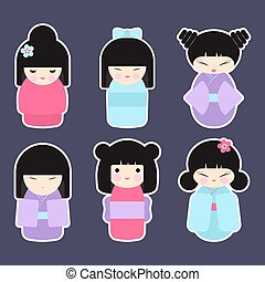 Kokeshi dolls vector icon set - Kokeshi dolls set. Flat...