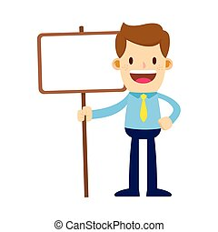 Businessman Holding a Blank Sign Board